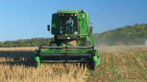 Combine Harvesting Soybeans 02 Stock Video Footage