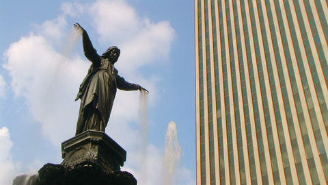 Female Statue Fountain 02 Stock Video Footage