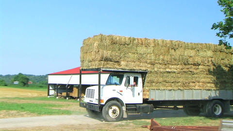 Truck Hauling Hay Bales Footage
