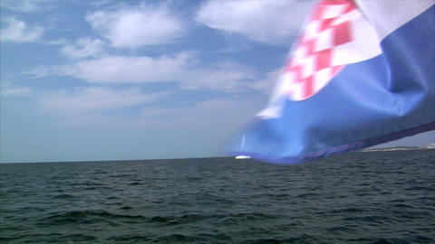 catamaran and croatia flag Stock Video Footage