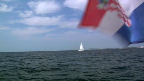 catamaran and croatia flag Footage
