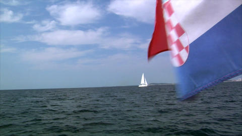 catamaran and croatia flag Stock Video Footage