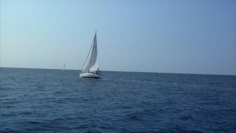sailing boat to boat Stock Video Footage