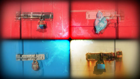 Split multy coloured doors and locks Stock Video Footage