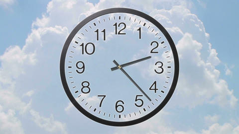 Clock With Clouds Time Lapse Animación