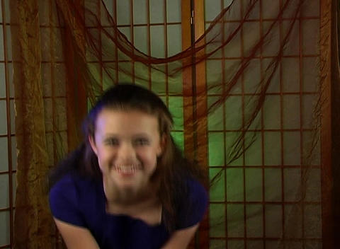 Beautiful Adolescent Girl Laughing Stock Video Footage