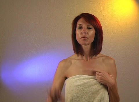 Beautiful Redhead Wearing a Bath Towel, with Futur Stock Video Footage