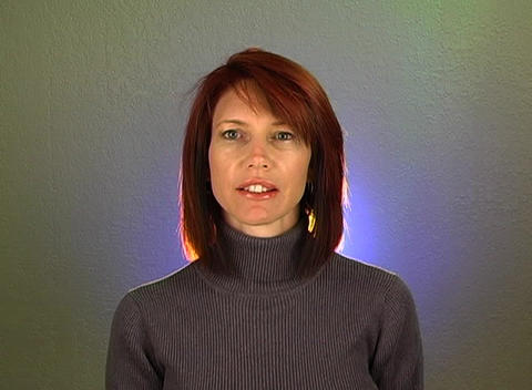 """Beautiful Redhead Shakes her Head """"Yes"""" (2) Stock Video Footage"""