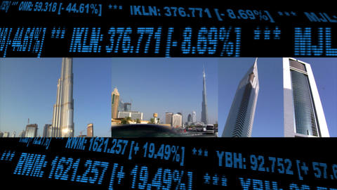 Dubai UAE Stock Finance Montage Footage