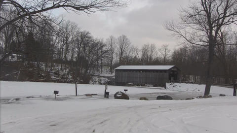 Covered bridge3 Stock Video Footage