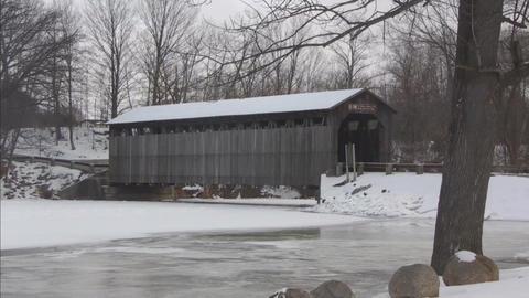 Covered bridge7 Stock Video Footage