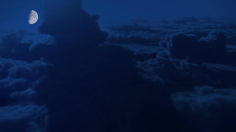 (1147) Dramatic High Altitude Clouds Aerial Moonlight Night Flight Animation