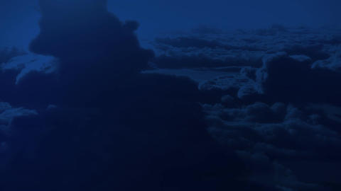 (1147) Dramatic High Altitude Clouds Aerial Moonlight... Stock Video Footage