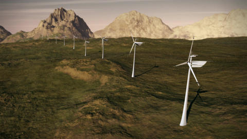 (1149) Electricity Wind Turbines Farm Power Grid Clean Alternative Energy LOOP Animation