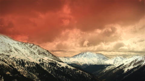 (1151) Early Winter Colorado Mountains Snow Sunset Clouds... Stock Video Footage