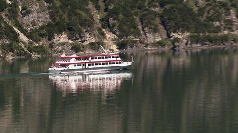 steamer on mountain sea Footage