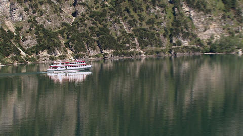 steamer on mountain sea Stock Video Footage
