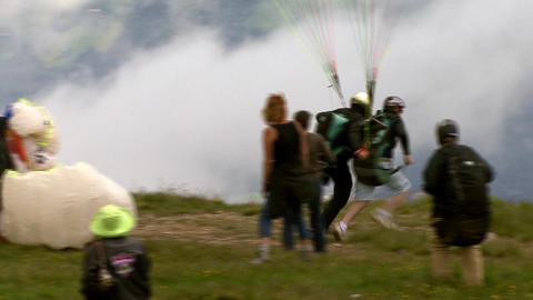 paraglider start closeup Stock Video Footage