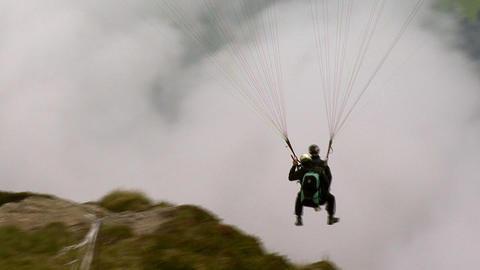 paraglider start closeup Stock Video Footage