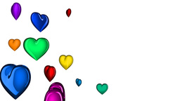 loopable colorful hearts, matte Stock Video Footage