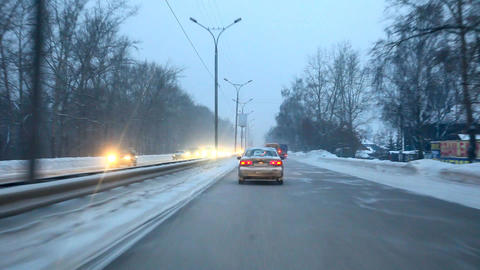 Winter road Stock Video Footage