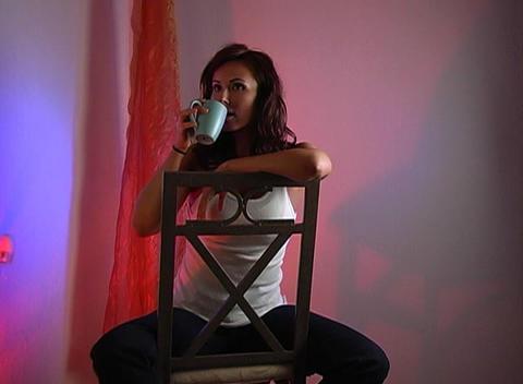 Beautiful Brunette Drinking Coffee (1b) Stock Video Footage