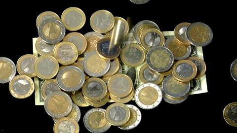 dollar under euro pressure Stock Video Footage
