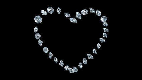 Diamond Heart rotation loop Stock Video Footage