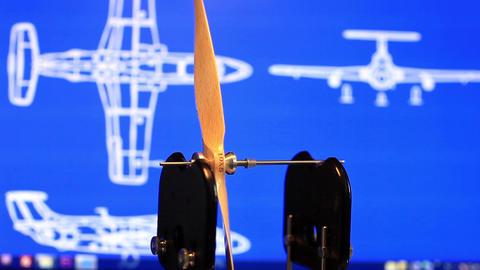 balancing a wooden propeller Footage