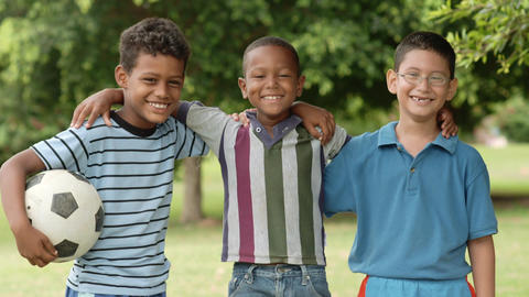 Multiethnic Group of Boys with Soccer Ball Footage