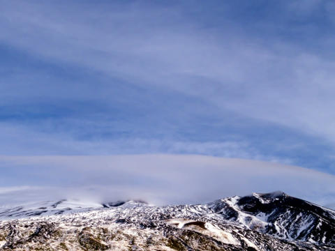 Slope Etna in the snow. Italy, Sicily. Time Lapse. Stock Video Footage