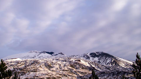 Etna under the snow. Italy, Sicily. Time Lapse. 4K Stock Video Footage