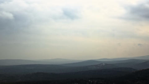 Fog over the hills. Time Lapse. 1280x720 Stock Video Footage