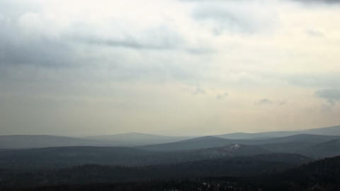 Fog over the hills. Time Lapse. 1280x720 Footage