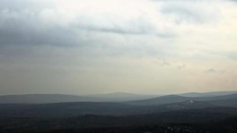 Winter hills haze. Panorama. Time Lapse. 1280x720 Footage