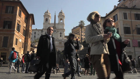 Spanish Steps at Piazza Di Spagna in Rome, Italy Footage
