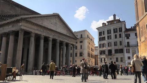 Tourists Walking Near Pantheon Stock Video Footage