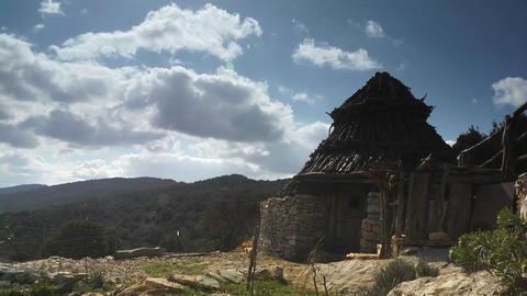 Hut Under Cloudy Sky, Sardinia, Italy Stock Video Footage