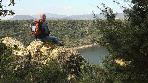 Hiker Looking At Lake View, Sardinia, Italy Footage