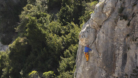 Man Rock Climbing, Sardinia, Italy Stock Video Footage
