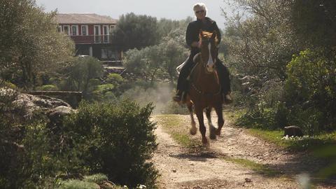 Woman Riding On Sardinia Horse, Italy Footage