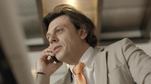 Businessman Talking On Mobile Phone stock footage