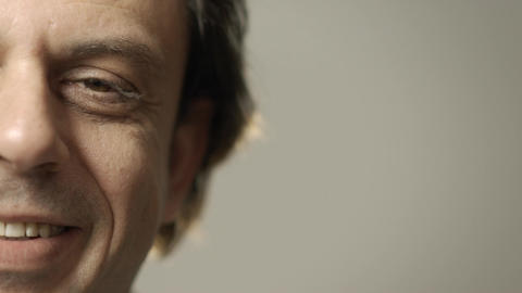 Closeup Of Adult Man Face Stock Video Footage