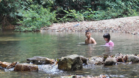 kids play in the stream Stock Video Footage