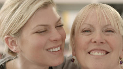 Portrait Of Mother And Daughter Smiling Stock Video Footage