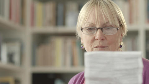 Senior Woman With Pills And Prescription stock footage