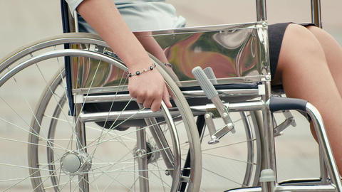 Portrait of happy businesswoman on wheelchair Stock Video Footage