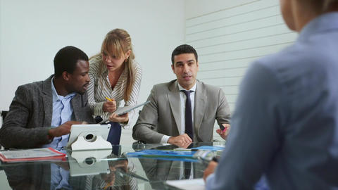 Team of business people working in office meeting Stock Video Footage