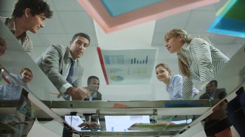 Team of business people working in office meeting room Stock Video Footage