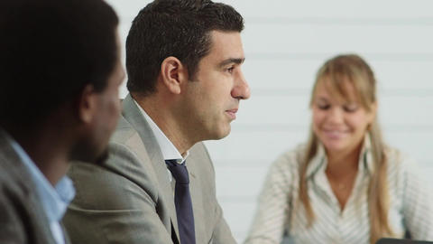 Business people discussing in office meeting room Stock Video Footage